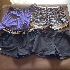 Women's under armour Nike running shorts lot of 4